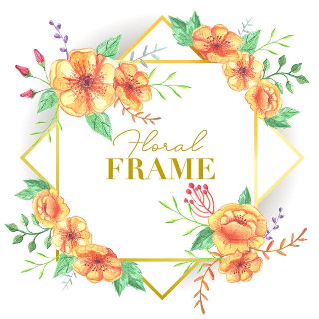 水彩花のイラストと結婚式の花のフレーム アート 背景 美しいの無料