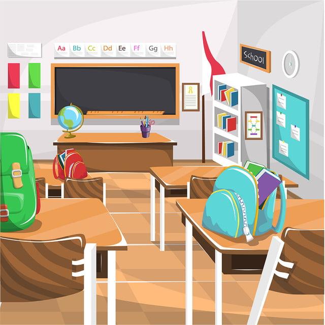 Clean Elementary School Classroom With Chalk Board Globe ...