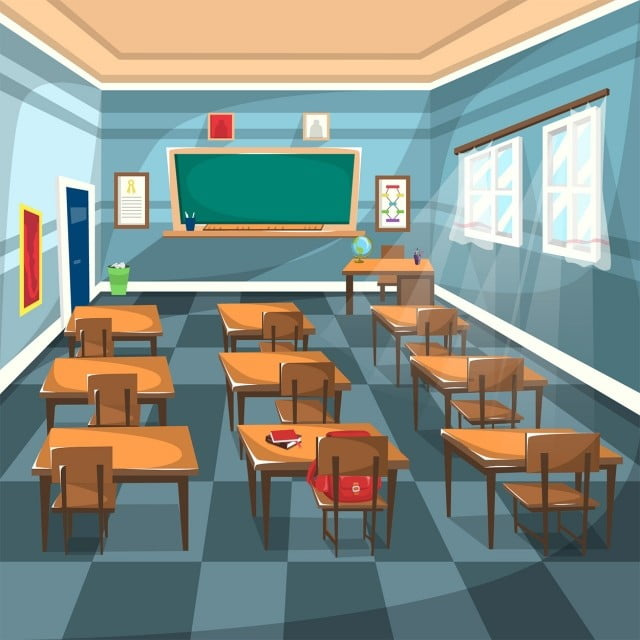 Clean High School Clroom With Chalk Green Board Brown Study