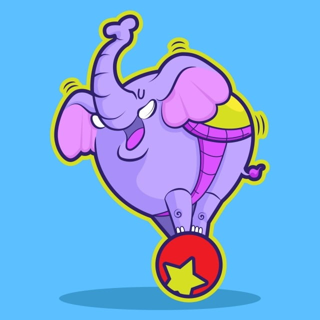 Cute Elephant Circus Playing Ball, Sticker, Doodle, Show PNG and