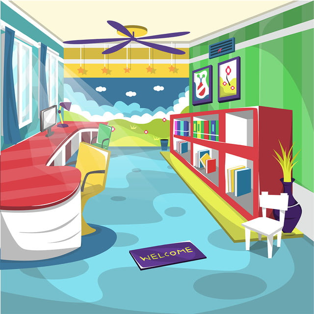 Kids Library School Room With Ceiling Fan Wall Painting Globe Books