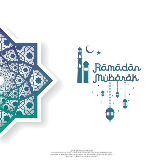 Ramadan Mubarak Concept With Vector Typography And Abstract
