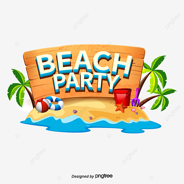 Beach Party Stylistic Artistic Characters for Summer Beach Palms Art