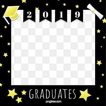 golden graduation photo border, 2019 Graduation, Cartoon Style, Star Border PNG and Vector
