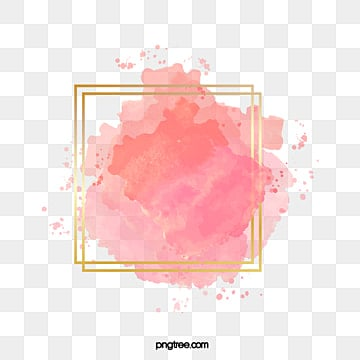 pink gradient watercolor brush golden border, Watercolor, Gradient, Brush PNG and Vector