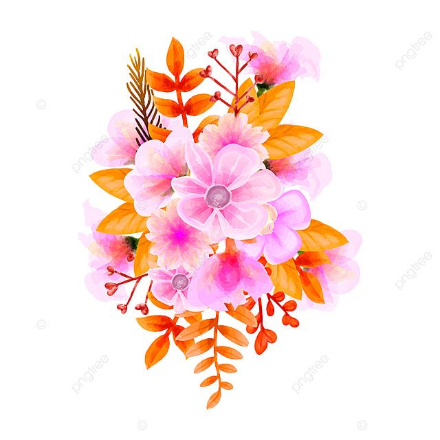 bouquet watercolor flower vector floral set colorful