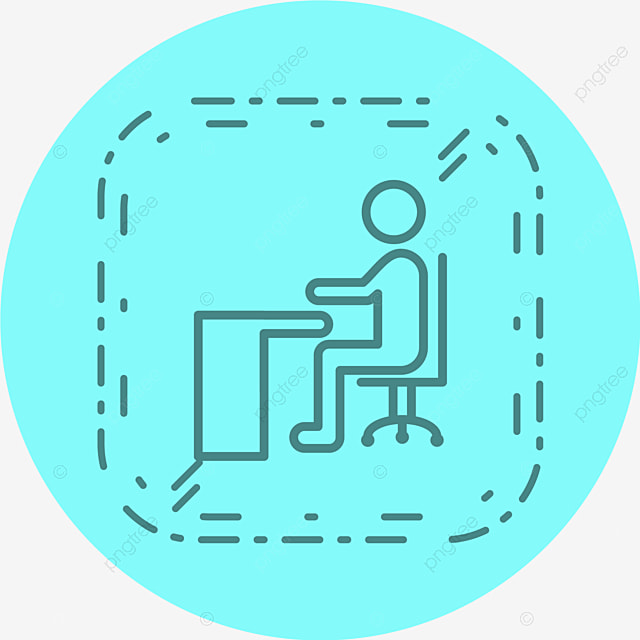 Vector Sitting On Desk Icon Chair Desk Furniture Png And Vector