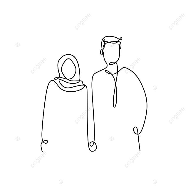Gambar Kartun Wanita Pria Muslim Gambar Muslim Beberapa Baris Lukisan Seorang Pria Dan Gadis Bentuk Romantis Minimalism Gaya Kartun Keluarga Latar Belakang Png Dan Vektor Untuk Muat Turun Percuma