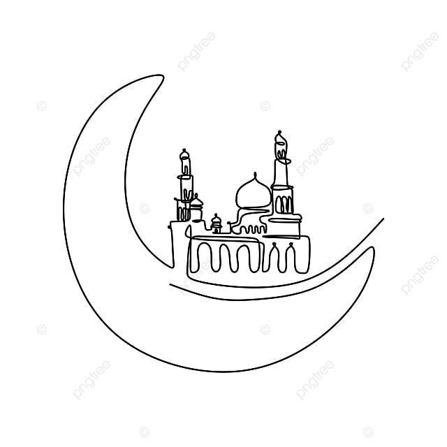 Ramadan Masjid Berterusan Garis Lukisan Di Latar Belakang