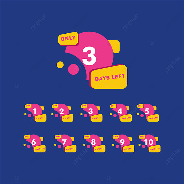 Set Of Number Days Left Countdown Vector Illustration Template