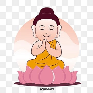 Cartoon Closed Eye Vector Wind of Lotus Blossom of Little Buddha, Gradient, Smiling Face, Pink PNG and Vector