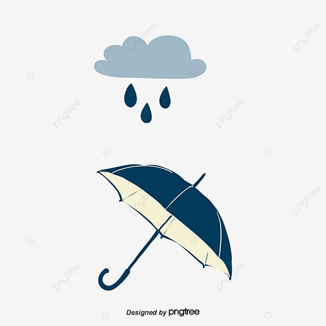 Cartoon Blue Rain Umbrella Rain Dark Clouds Element Png
