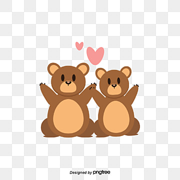 Brown Bear Lovers on Valentines Day, Animal, Cartoon, Lovely PNG and Vector