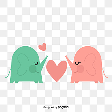 elephant couples on valentines day, Animal, Cartoon, Lovely PNG and PSD