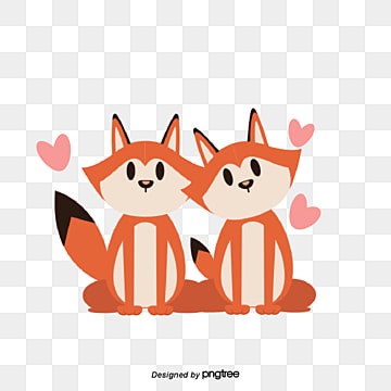 Fox Lovers on Valentines Day, Animal, Cartoon, Lovely PNG and Vector