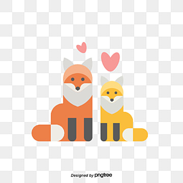 Foxes on Valentines Day, Animal, Cartoon, Lovely PNG and Vector