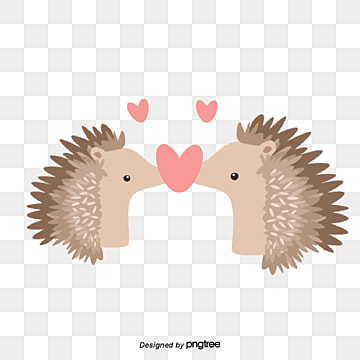 hedgehog lovers on valentines day, Kiss, Hedgehog, Animal PNG and Vector