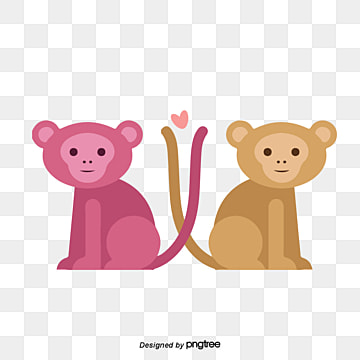 illustration of monkey lovers on valentines day, Animal, Cartoon, Lovely PNG and Vector