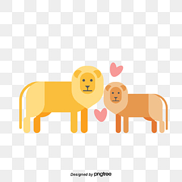 lion lovers on valentines day, Animal, Cartoon, Lovely PNG and Vector