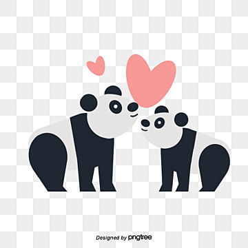 panda couples on valentines day, Animal, Cartoon, Lovely PNG and Vector