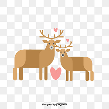 Sika deer on Valentines Day, Animal, Cartoon, Lovely PNG and PSD