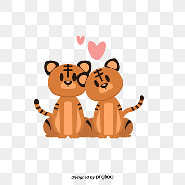 Tiger couples on Valentines Day, Animal, Cartoon, Lovely PNG and Vector