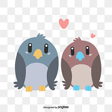 two birds on valentines day, , Animal, Cartoon PNG and Vector