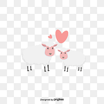 two sheep on valentines day, Animal, Cartoon, Lovely PNG and Vector