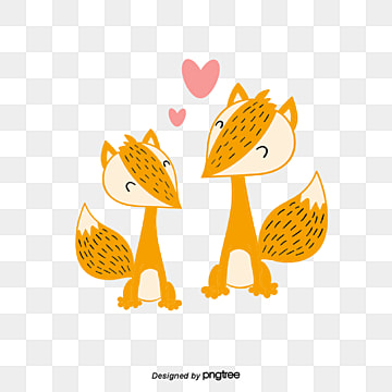 Valentines Day Animal Couple Element Fox, Animal, Cartoon, Lovely PNG and Vector