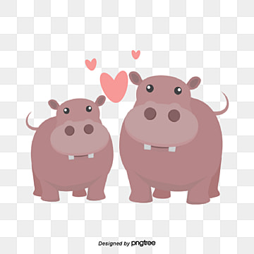 Valentines Day Animal Couple Element Hippo, Animal, Cartoon, Lovely PNG and Vector