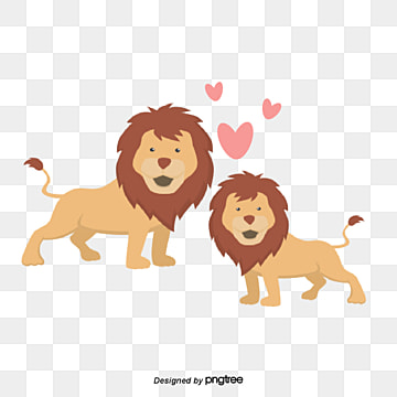 Valentines Day Animal Couple Element Lion, Animal, Cartoon, Lovely PNG and Vector