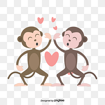 Valentines Day Animal Couple Element Monkey, Clap, Animal, Cartoon PNG and Vector