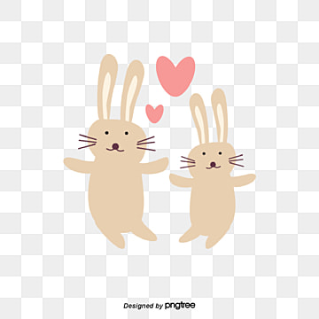 Valentines Day Animal Couple Element Rabbit, Rabbit, Animal, Cartoon PNG and Vector