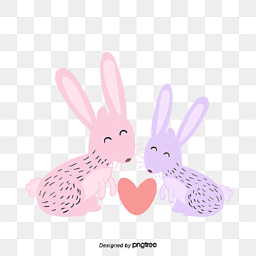 valentines day animal couple element rabbit, Kiss, Animal, Cartoon PNG and Vector