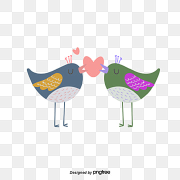 valentines day bird couple illustration, Animal, Cartoon, Lovely PNG and Vector
