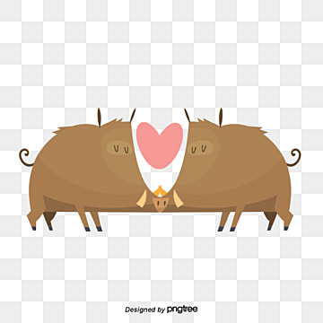 valentines day bull lovers, Kiss, Animal, Cartoon PNG and Vector