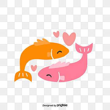 valentines day fish couple, Animal, Cartoon, Lovely PNG and Vector