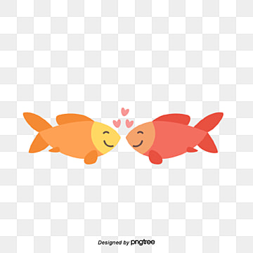 valentines day fish couple, Kiss, Animal, Cartoon PNG and Vector