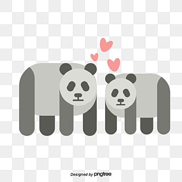 valentines day grey panda, Animal, Cartoon, Lovely PNG and Vector