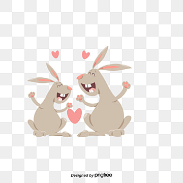 valentines day hare lovers, Animal, Cartoon, Lovely PNG and Vector