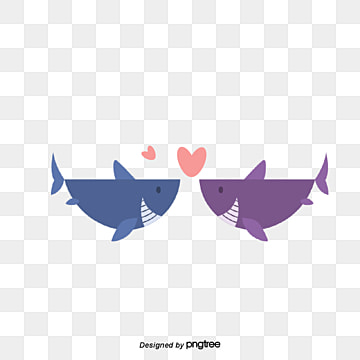 Valentines Day Shark Lovers, Animal, Cartoon, Lovely PNG and Vector