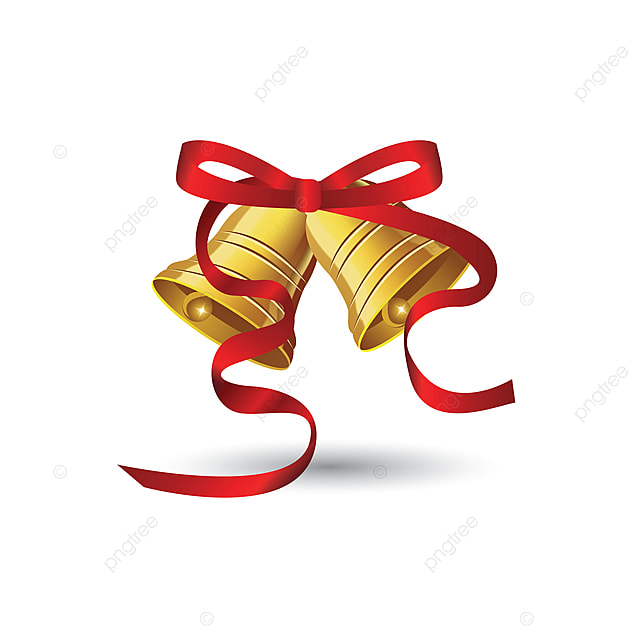 Christmas Bells With Red Ribbon Christmas Red Ribbon Png