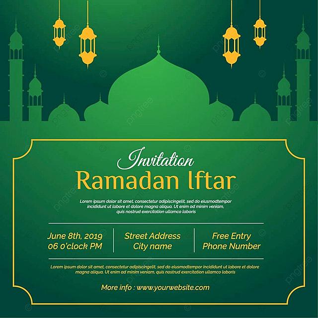 Ramadan Kareem Greeting Template Islamic Crescent And Arabic Lantern
