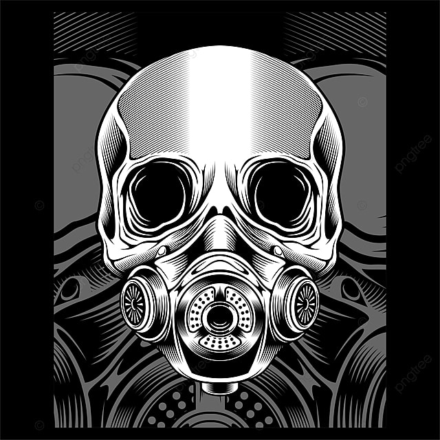 Skull With Respirator Vector Hand Drawing, Bundle, Artistic, Vintage PNG  and Vector with Transparent Background for Free Download