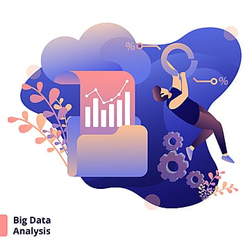 Illustration Big Data Analysis  a modern illustration style concept, Graphic, Seo, Digital PNG and Vector