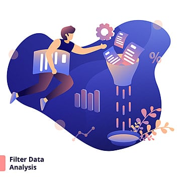 Illustration Filter Data Analysis  a modern illustration style concept, Observation, Strainer, Diagnosis PNG and Vector