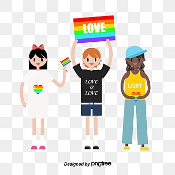 Pride Moon Colorful Characters Stand Up Rainbow Flag, Flag Up, People, Color PNG and Vector