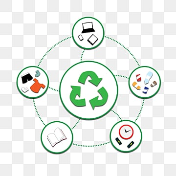 Recycling Peripheral Elements with Simple Green Environment Protection, Recovery, Flat Style, Environmental Protection PNG and Vector
