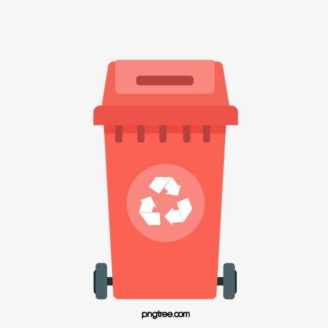 Simple Hand Painted Red Recycling Bin, Cartoon, Recovery