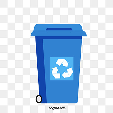Creative hand painted blue recycling bin, Cartoon, Recovery, Recycling Bin PNG and Vector